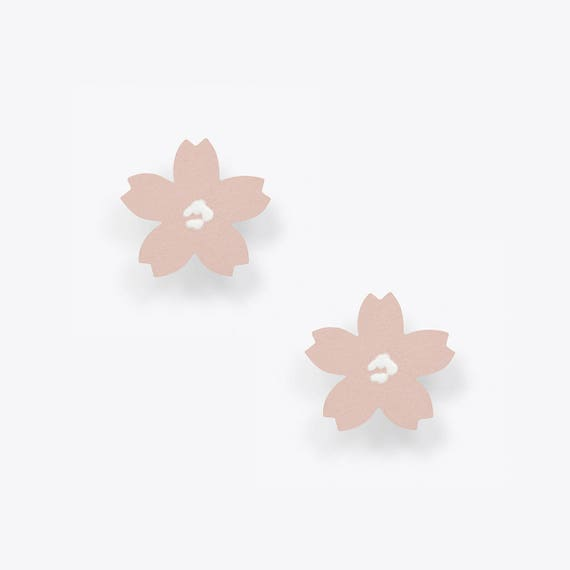 Light Pink Cherry Blossom Stud Earrings