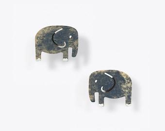 Weathered Grey Elephant Stud Earrings