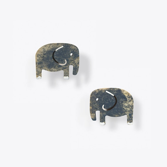 Weathered Grey Elephant Stud Earrings