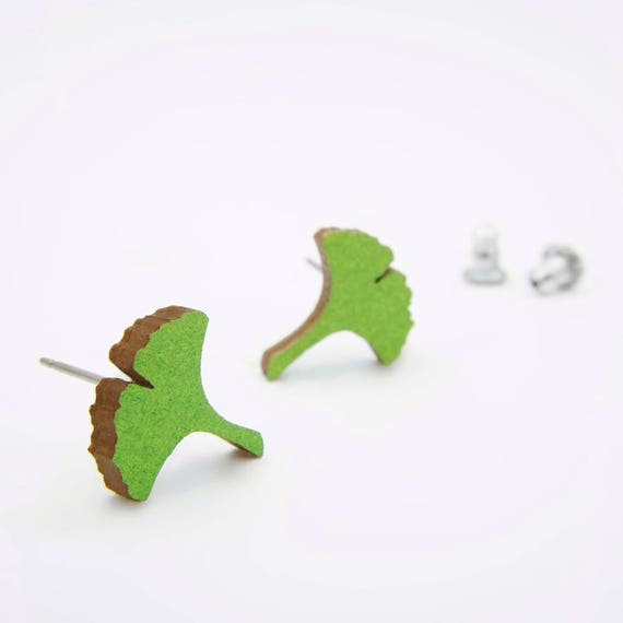 Green Ginkgo Stud Earrings