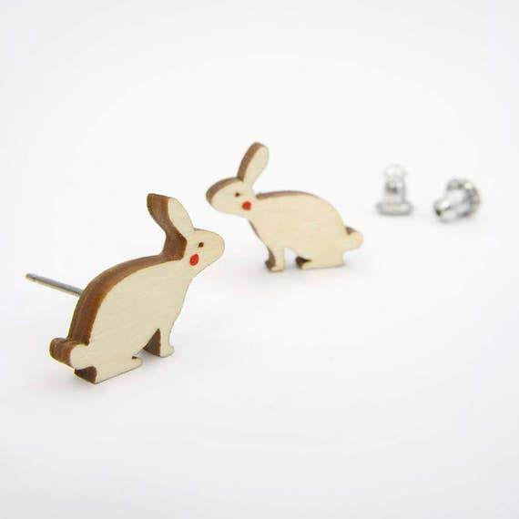 Modern Birch Bunny Rabbit Earrings