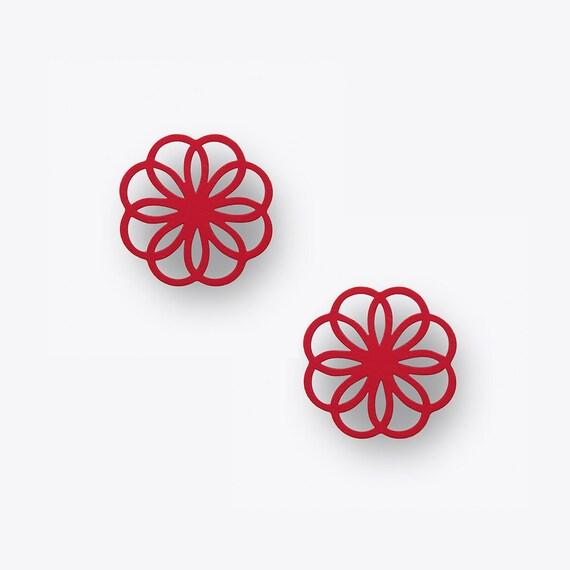 Ornament Birch Earrings in Magenta