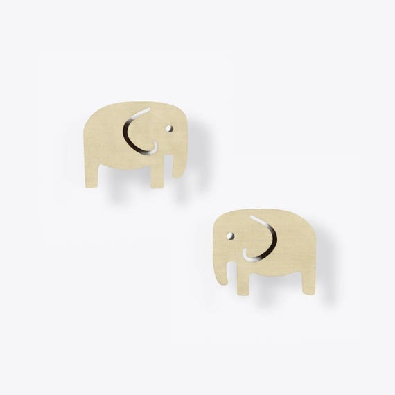 Modern Birch Elephant Stud Earrings