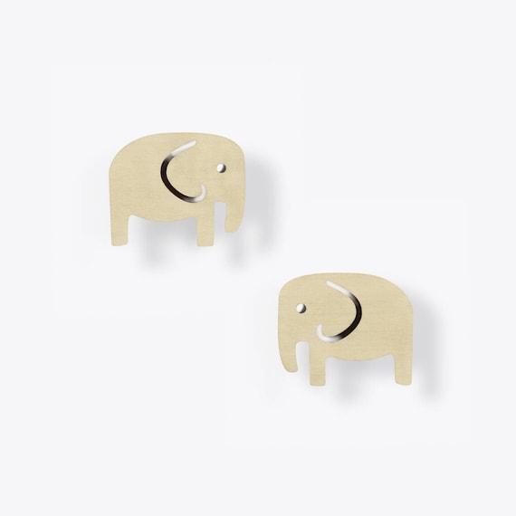 Modern Birch Elephant Stud Earrings