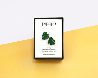 Minimalist Monstera Leaf Statement Earrings in Leaf Green / Titanium Hardware - Truly Nickel Free / Lightweight Stud Earrings Made from Wood