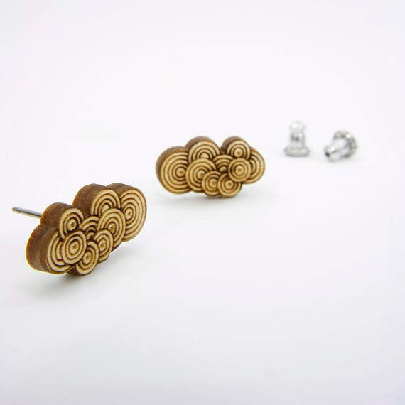 Modern Etched Cloud Stud Earrings