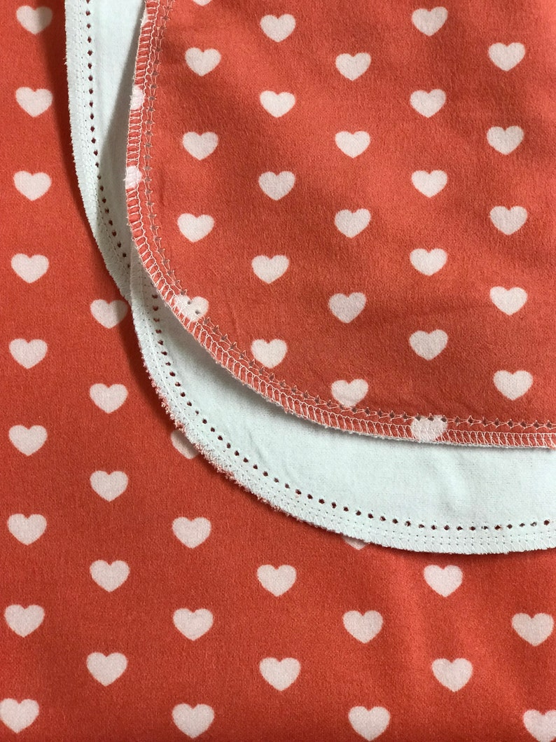 receiving size 36x40 double sided flannel Perfect swaddle. Hearts hemstitch flannel baby blanket and burp cloth