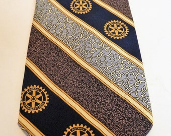 f574a874d Men's Silk Necktie/Rotary Club/International Gear Logo/Marked Russell-Hampton  Co. Serving Rotarians since 1920/100% Silk/Black Gray Tan Gold