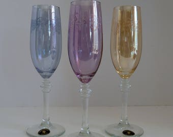 Champagne Flutes/Handpainted Cristalleria Fumo Champagne glasses/Handmade Italy/hand painted/Colored Wedding flutes/Purple or amber