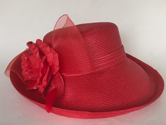 Betmar Red Formal hat/Stunning New York Vintage Ha