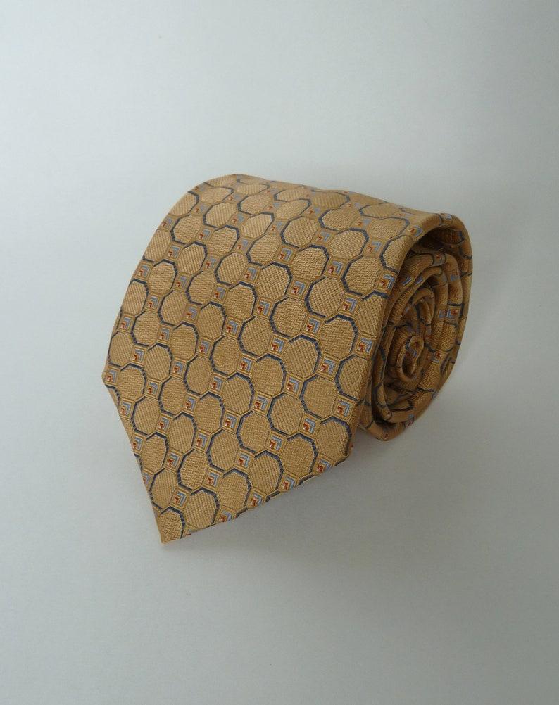 740a1047d9ad Mens necktie PRONTO-UOMO Silk tie/Tan Gold and Blue Necktie | Etsy