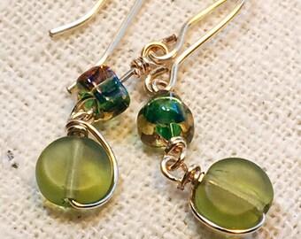 Tiny green earrings, green earrings, small earrings, small green earrings, dainty earrings, tiny earrings, delicate earrings