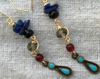 Long earrings, colorful earrings, boho earrings, funky earrings, unique earrings, lapis earrings, lapis jewelry, long bohemian earrings