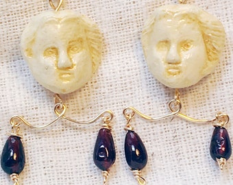 Roman earrings gold, museum jewelry, ancient earrings, gold garnet earrings, garnet jewelry, imitation ivory, Roman Empire, ancient jewelry