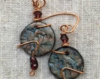 Garnet earrings, copper earrings, different earrings, modern earrings, round earrings, modernist earrings, unique earrings