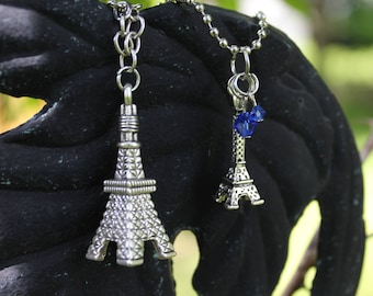 Eiffel Tower - Silver Eiffel Tower Charm Necklaces with Optional Bead charms