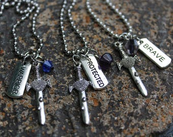 Sword on the Stone - Silver Sword Necklace with Word Charms - Warrior, Brave or Protected - and optional bead
