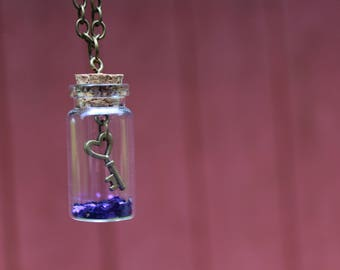 Key to my Heart - Bronze Bottle Necklace with Key Charm