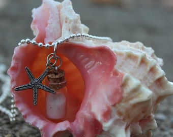 Day at the beach - Mini Cork Bottle Necklace with Sand and Starfish Charm