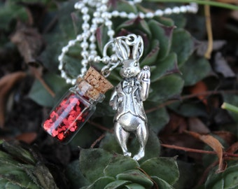 White Rabbit - Mini Cork Bottle Necklace with Red Sequins and Silver Rabbit Charm
