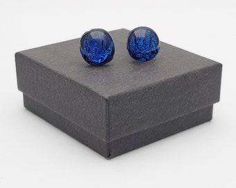 Deep blue crinklised dichroic stud earrings