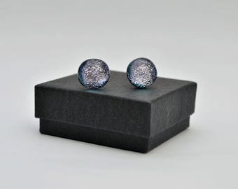 Silver on black dichroic stud earrings