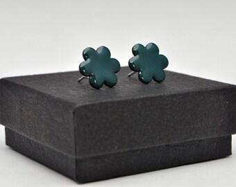 Jade flower enamel stud earrings