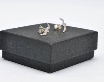 Sterling silver seagull stud earrings