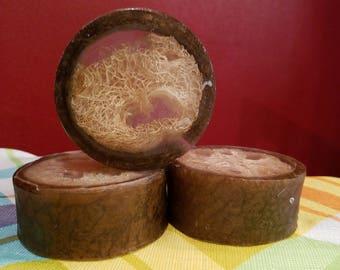 Coconut Luffa Soap, Handmade, melt and pour, Loofah soap, unisex, unisex soap, exfoliating soap, coconut soap, Hawaiian coconut soap