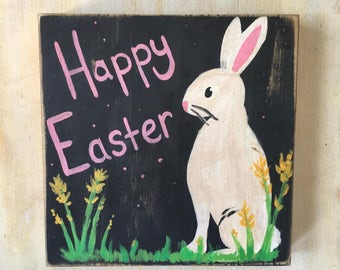 Happy Easter Sign, Wood Sign, Bunny Sign, Hand Painted Wood Sign, Spring Sign, Easter Decor