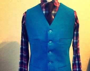 Turquoise Tweed Vest, Suit Wedding Vest, Custom made vest, Harris Tweed Handmade Wool Vest, Mens Groom Best Man vest, Wool Waistcoat,