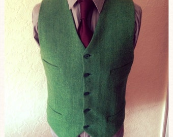 Green Harris Tweed Waistcoat Wedding Party Groomsmen Custom made Vest Best Man
