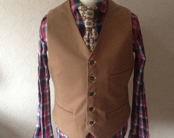 Handmade Beige Waistcoat, Camel Waistcoat, Wool Waistcoat,  Mens new Wedding Vest, Custom made Gilet, Formal Smart Vest, Vest for Suit Groom