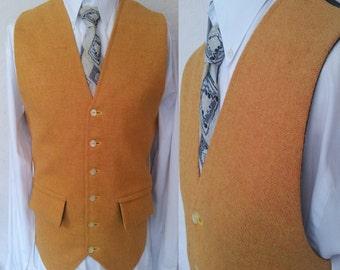 Mens Yellow Wool Waistcoat, Harris Tweed Vest, Wool Vest, Mens Vest for suit Gilet, Grooms Wedding Waistcoat