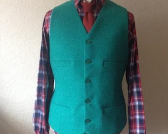 Green Mens Wedding Waistcoat, Custom made Suit Vest, Harris Tweed Vest, Handmade Vest, Groom Best Man Wool Waistcoat, Jade Green Waistcoat,