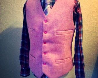 Pink Tweed Vest, Suit Wedding Vest, Custom made vest, Pink Harris Tweed Handmade Wool Vest, Mens Groom Best Man vest, Wool Waistcoat,