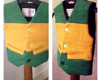 Handmade Baby Boy Harris Tweed waistcoat vest Green & Yellow wool vest Infant tweed waistcoat 16 months Wedding Christening Party Vest