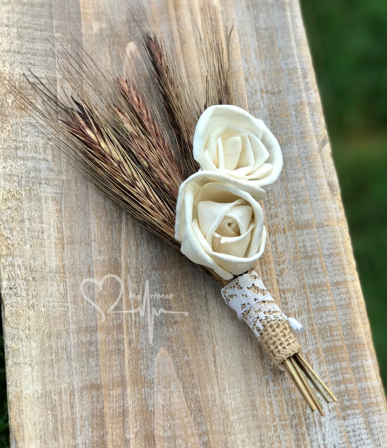 Brown and Ivory Boutonniere Wheat Boutonniere Country Boutonniere Sola Flower Boutonniere Rustic Wheat /& Sola Boutonniere