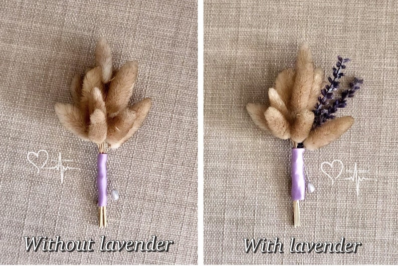 Country Wedding Boutonniere Purple Hare/'s Tail Boutonniere Lavender /& Bunny/'s Tail Boutonniere Bunny/'s Tail Rustic Wedding Boutonniere