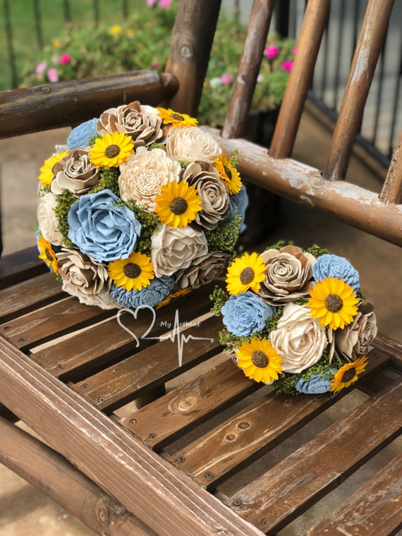 Baby Blue Sunflower Sola Bouquet Yellow And Blue Wedding Etsy