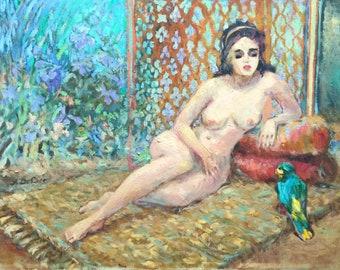 Await by A. Deluce original acrylic on canvas