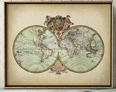 WORLD MAP PRINT, earth hemispheres print, World map poster, World map, spherical world map, scientific illustration, historical