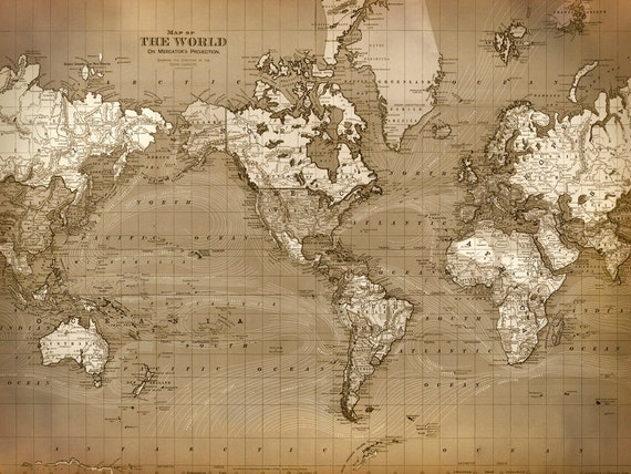 WORLD MAP Print in Aged Brownish Tones Old World Chart   Etsy