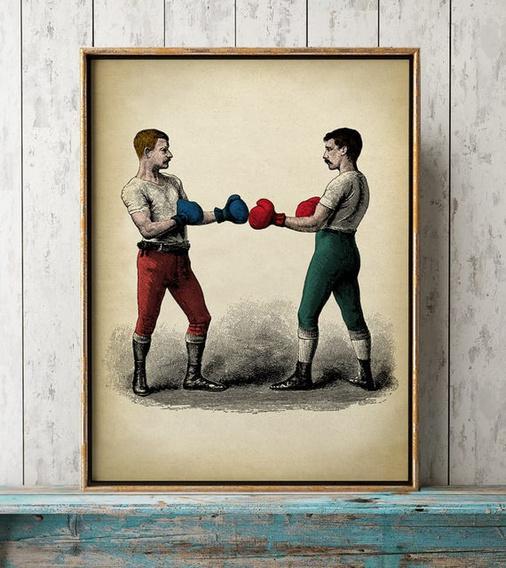 boxing poster art print male sport wall art vintage boxing etsy