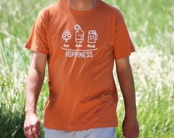 Hoppiness: Hop / Brew / Drink - Fair Trade Certified Unisex T-Shirt