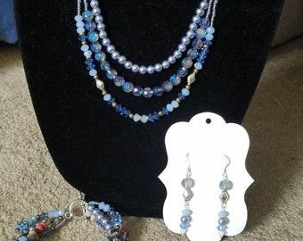 Light Blue Multistrand Necklace, Earring and Bracelet Set