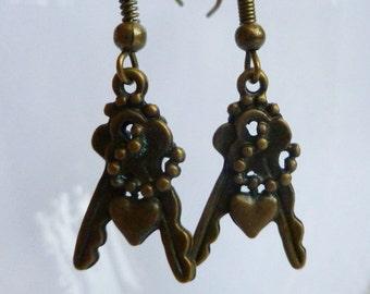 Key Earrings Small Key and Heart Bronze Coloured Earring Jewellery