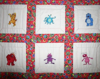 Lil Monsters Embroidered Baby Quilt