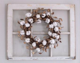 Cotton Wreath, Farmhouse Decor, Cotton Boll Wreath, Farmhouse Wreath, Front Door Wreath,  2nd Anniversary Gift, Wedding Decor