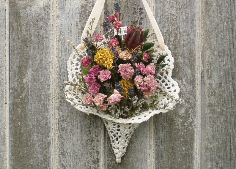 Nosegay Tussie Mussie Small Flower Bouquet Cottage Decor Shabby Farmhouse Dried Flowers French Country Chic Dried Flower Arrangement